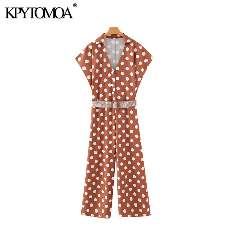 KPYTOMOA Women 2020 Chic Fashion Polka Dot With Belt Jumpsuits Vintage V Neck Short Sleeve Female Playsuits Casual Rompers Femme