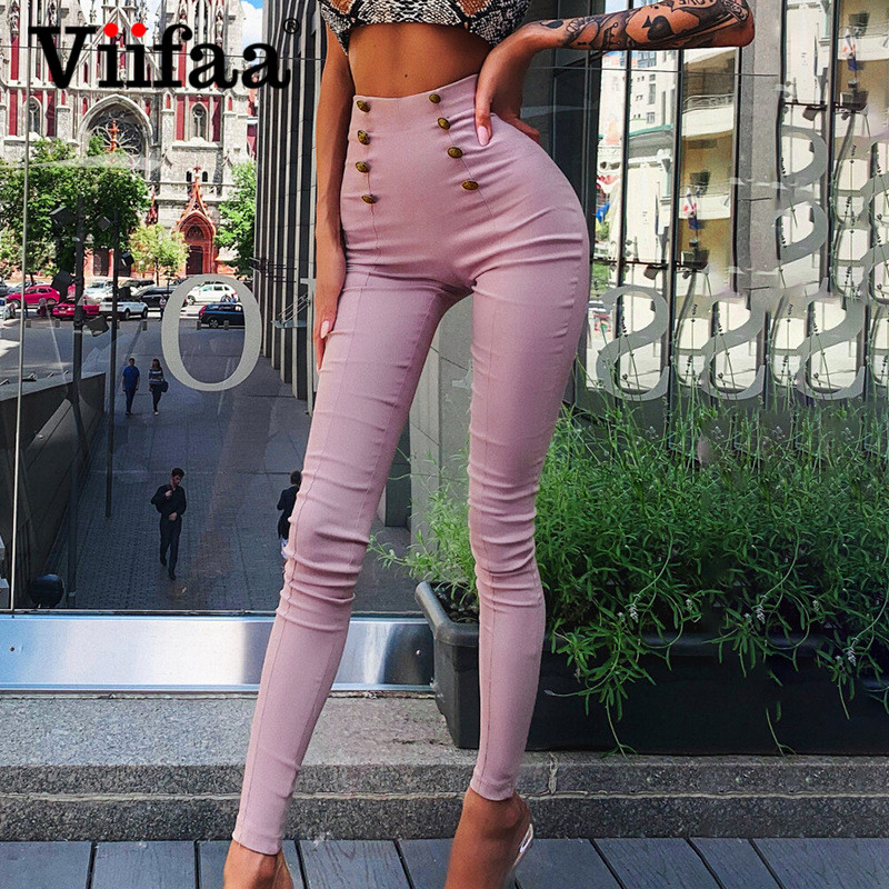 Viifaa Solid Double Breasted Button Front High Waist Skinny Pants Women Autumn Streetwear Stretchy Pencil Pants Trousers