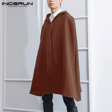 Man Fashion Outwear Streetwear INCERUN Men Solid Color Trench Loose Hooded Poncho Casual One Button Long Style Cloak Capes S-5XL