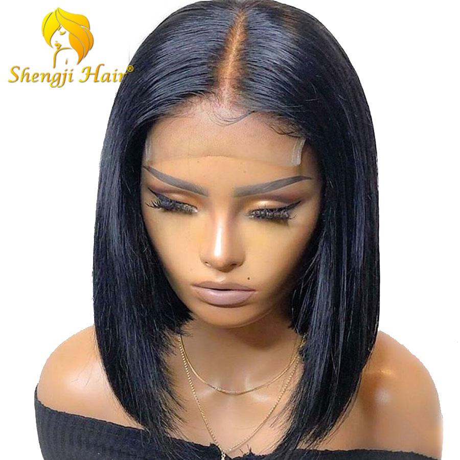 ストレートショートボブウィッググルーレスフルレース人毛ウィッグ黒人女性の事前摘み取らブラジルの Remy 髪 SHENGJI  グループ上の ヘアエクステンション & ウィッグ からの 人毛レースウィッグ の中 1