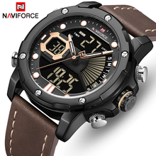 NAVIFORCE montre bracelet de sport pour hommes, de marque de luxe, de mode, à Quartz analogique numérique, étanche, LED