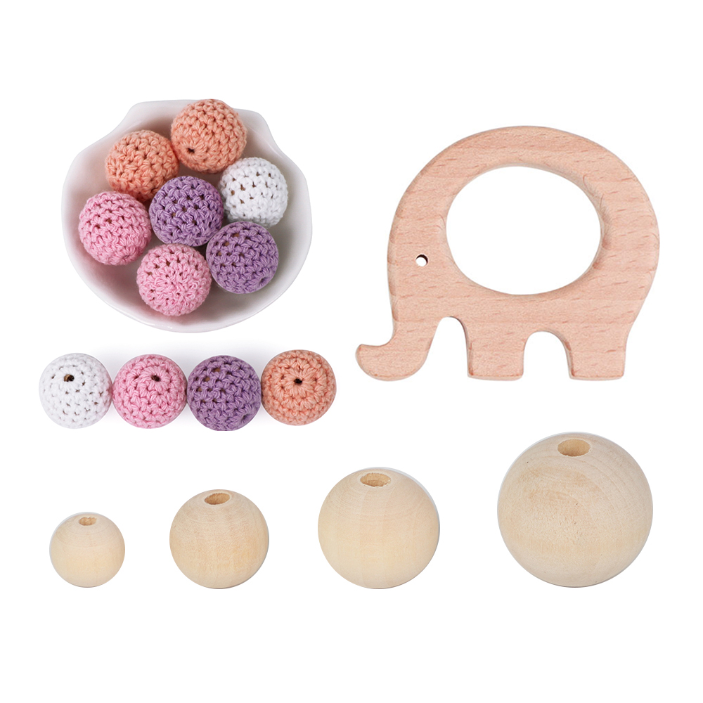 Wooden Teether Baby Teething Toys Beads Rattle DIY Pram Clip  Baby Wooden Teether