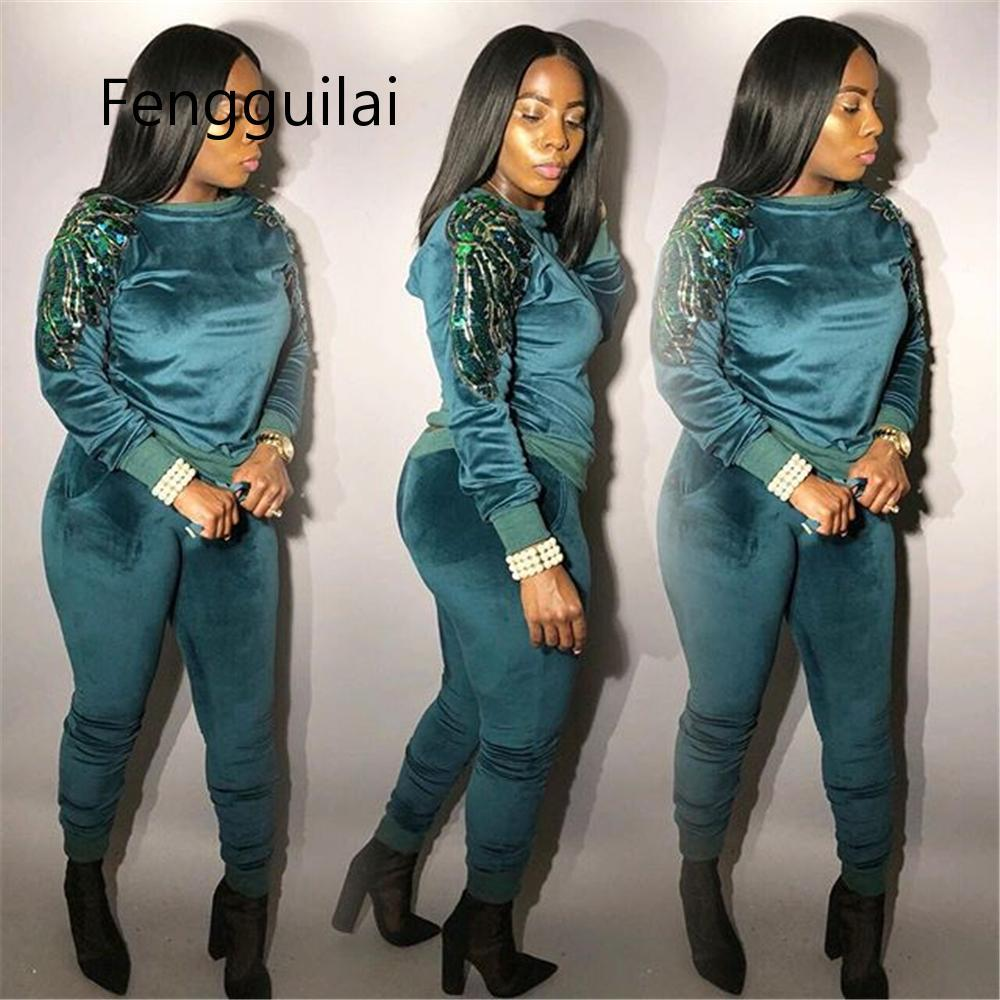 Thick Velvet Sequin 2 Piece Set Women Tracksuit Hoodies Tops And Pant Casual Outfits Suits Fall Winter Velour Sweatsuit