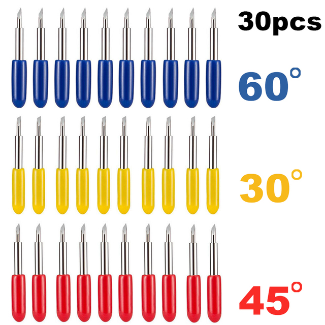 30 個 30 45 60 度ローランドcricutカッティングプロッタビニールカッターナイフの刃オフセットcricutマシンフライスルータービットビット
