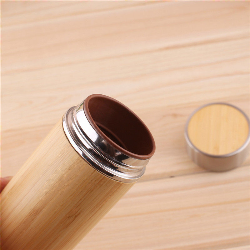 Image 3 - 1PCS/Pack Creative Bamboo Thermos Bottle 450ml Stainless Steel Tumbler Vacuum Flasks Insulated Bottles Coffee Mug For Travel Tea-in Water Bottles from Home & Garden