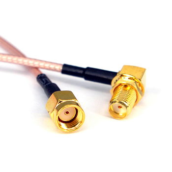 цена на 100pcs RFconnector  cable SMA Female Rightangle to RP SMA Male Coax  Antenna Adapter Pigtail Extension Cord RF Connector Cable