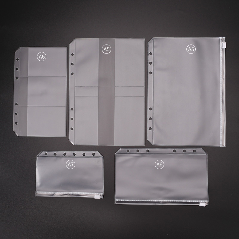 A4 A5 A6 A7 loose leaf notebook pvc collection bag DIY diary accessory, zip bag name card case storage bag pouch(China)