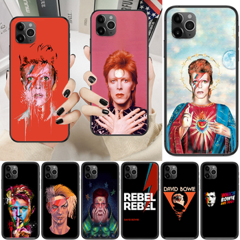 Rock David Bowie Phone Case Cover Hull For iphone 5 5s se 2 6 6s 7 8 12 mini plus X XS XR 11 PRO MAX black art back painting image