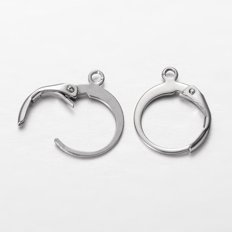 100pcs 304 Stainless Steel Earring Hooks Earring Settings Base For Jewelry Making DIY Earring Findings 14.5x12x2mm Hole: 1mm