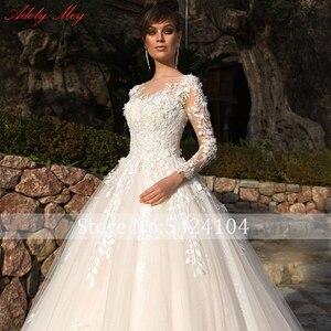 Image 3 - Adoly Mey Design Gorgeous Appliques Flowers Beaded A Line Wedding Dresses 2020 Elegant Scoop Neck Long Sleeve Vintage Bride Gown