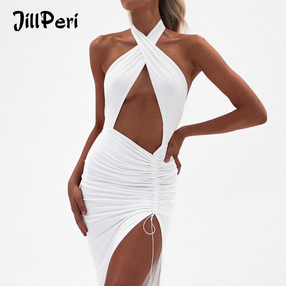 JillPeri Women Sexy Front Cross Halter Backless Maxi Dress Irregular Hollow Out Waist Strappy Ruched Leg Open Gown Party Dress