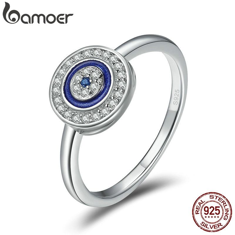 BAMOER Authentic 100% 925 Sterling Silver Lucky Blue Eyes Women Finger Ring Wedding & Engagement Jewelry Ring SCR208