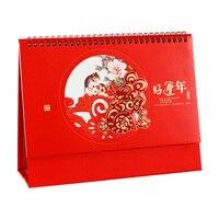 2020 китайский стиль красный счастливый креативный Настольный календарь винтажное безопасное украшение стола