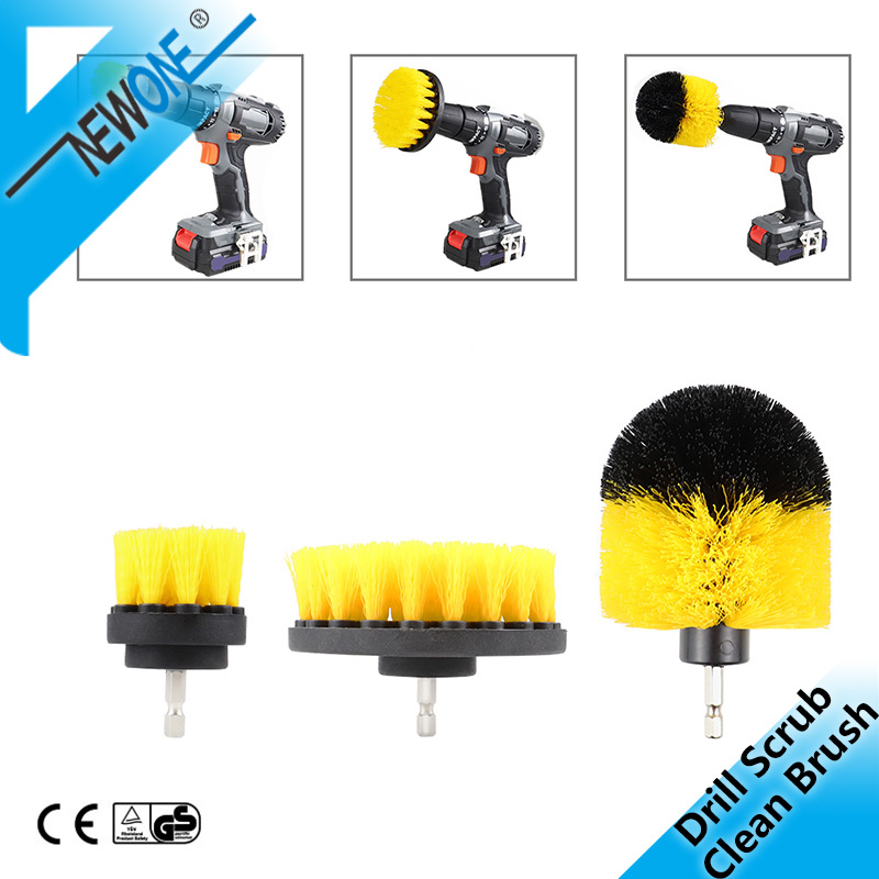 3pcs/set Electric Drill Clean Brush For Cleaning Kitchen Toilet Cordless Power Machine Kit 2/3.5/4 Inch Plastic Cleaning Brush