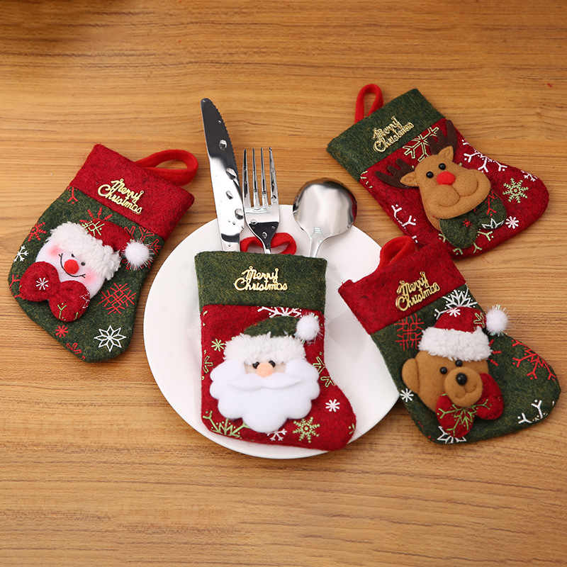 lovely Christmas Socks Christmas Cutlery Set Knife And Fork Set Gift Bag festive home decor tableware bag kitchen accessories