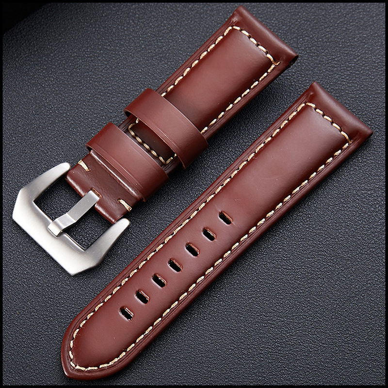 Universal Genuine Leather Watch Strap Quick Release Pins Adjustable Retro Leather Band Classic Pin Buckle Strap 20/22/24mm