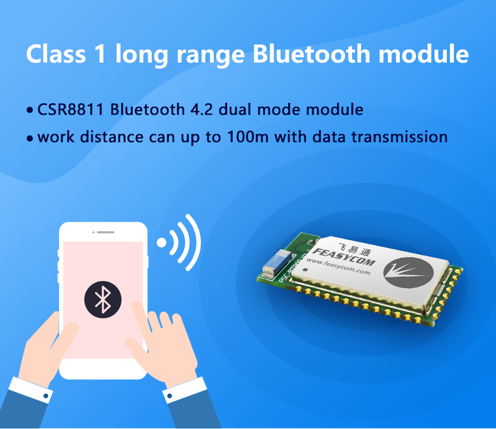 cheapest FEASYCOM Class 1 CSR8811 Bluetooth 4 2 Dual Mode Module Support UART Data and I2S Audio transciver