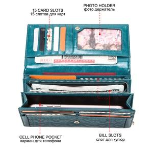 Image 3 - Portemonnee com telefone bolsa de dinheiro titular do cartão bolsa de couro genuíno das mulheres da forma carteira de embreagem feminina