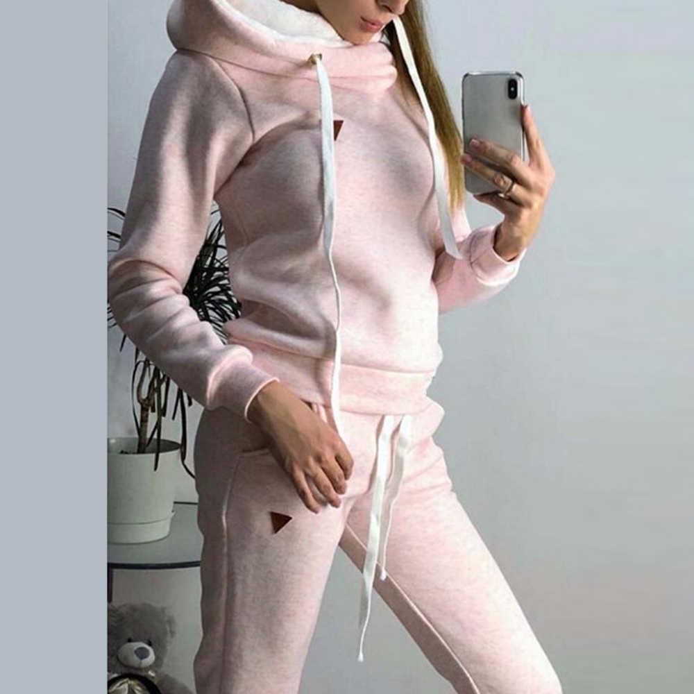 2019 Warm 2 stuks Sport Sets Vrouwen Winter Herfst Trainingspak Lange Mouw Hoodie Top + Joggingbroek Warme Outfits Running Pak sportkleding