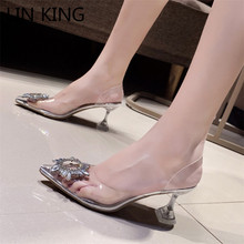 LIN KING New Summer Women Pumps High Heels Bling Crystal Shoes Sexy Pointed Toe Ladies Party Dress Shoes Transparent Slippers
