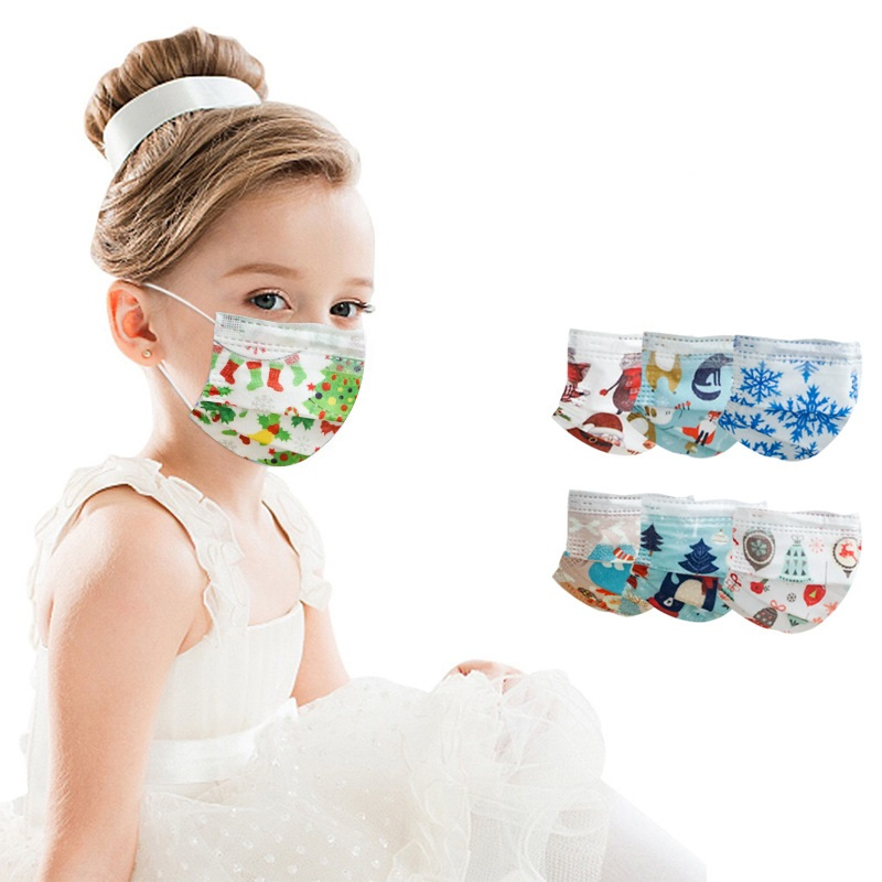 50 шт. маска для детей Рождественская одноразовая 3 слоя слоев фильтр пыли mascarillas на Рождество с принтом маски дышащий маски для лица|Маски| | АлиЭкспресс