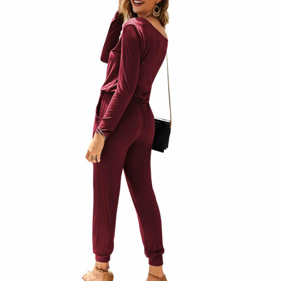 Модный простой комбинезон для женщин с тонким поясом с v-образным вырезом, женский осенне-зимний повседневный черный комбинезон с длинными рукавами для женщин