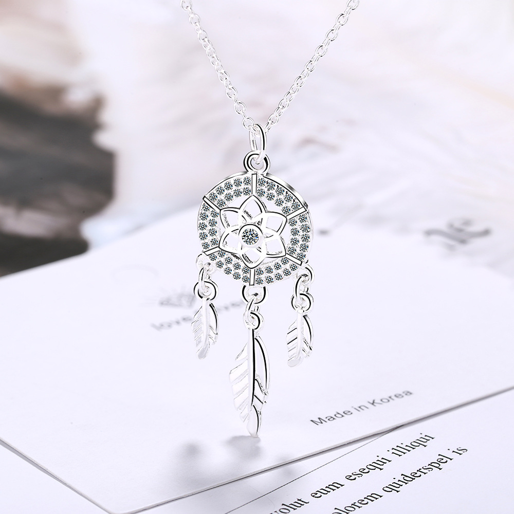 Romantic 925 Sterling Silver Dream Catcher Pendant Necklace For Women Tassel Round Flower Chain Jewelry Kolye Collares Bijoux