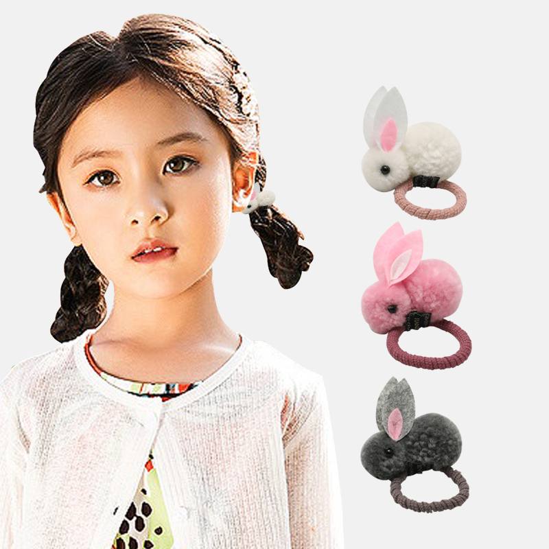 Creative hair accessories cute cartoon three-dimensional bunny ring plush rabbit ears rope female