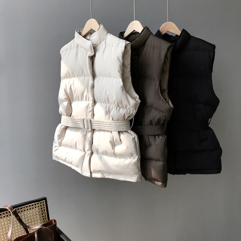 Winter Keep Warm Sleeveless Vest Women Jacket Solid Harajuku Stand Collar Belt Puffer Outwear Loose Fashion Cotton Padded Vests