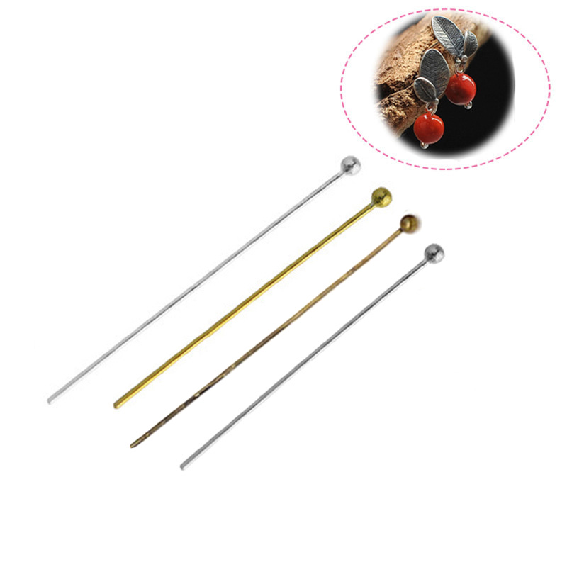 200Pcs 20-50mm Alloy Head Pins Gold/Silver//Rhodium/Bronze Head Ball Pins Handmade For Jewelry Findings Making DIY Ball Needles