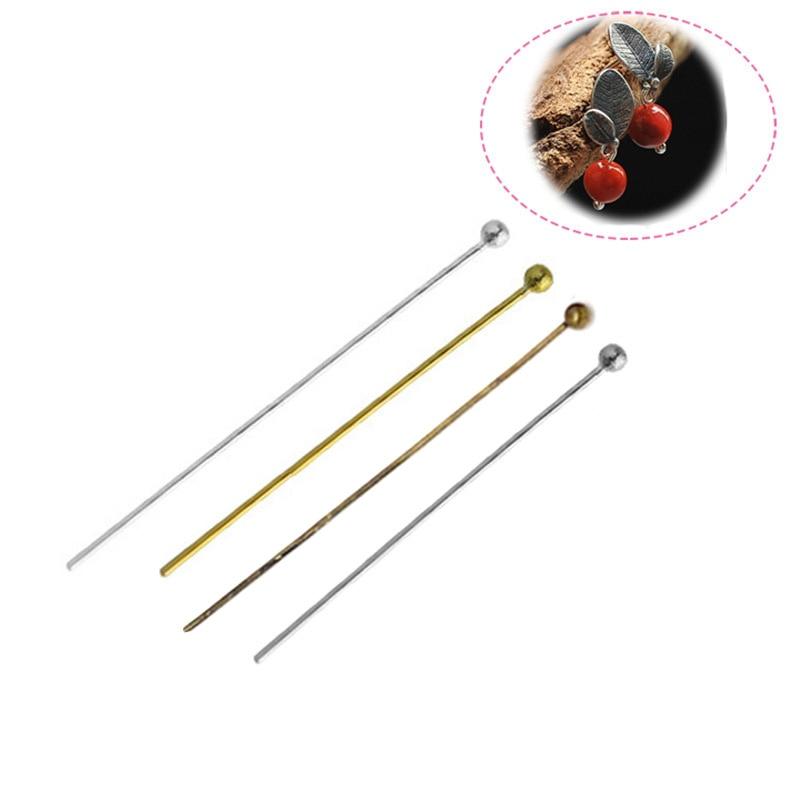 200Pcs 20-50mm Alloy Head Pins Gold/Silver//Rhodium/Bronze Head Ball Pins Handmade For Jewelry Findings Making DIY Ball Needles
