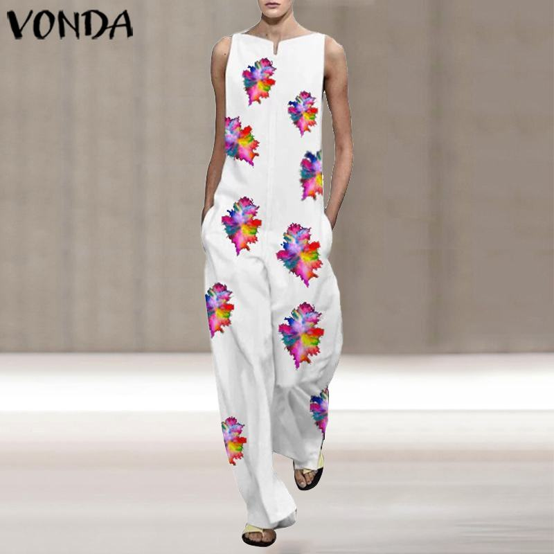 Overalls Women Jumpsuits VONDA 2020 Summer Sleeveless Rompers Vintage Floral Printed Long Playsuits Casual Plus Size Pants