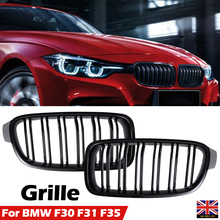 2pcs Car Front Grille Gloss Black Grilles For BMW 3-Series F30 F31 2012-2017 Racing Grills