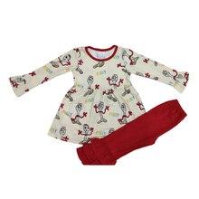 2019 cartoon print spoon man long sleeve tunic pants 2 pcs set baby girl boutique clothes