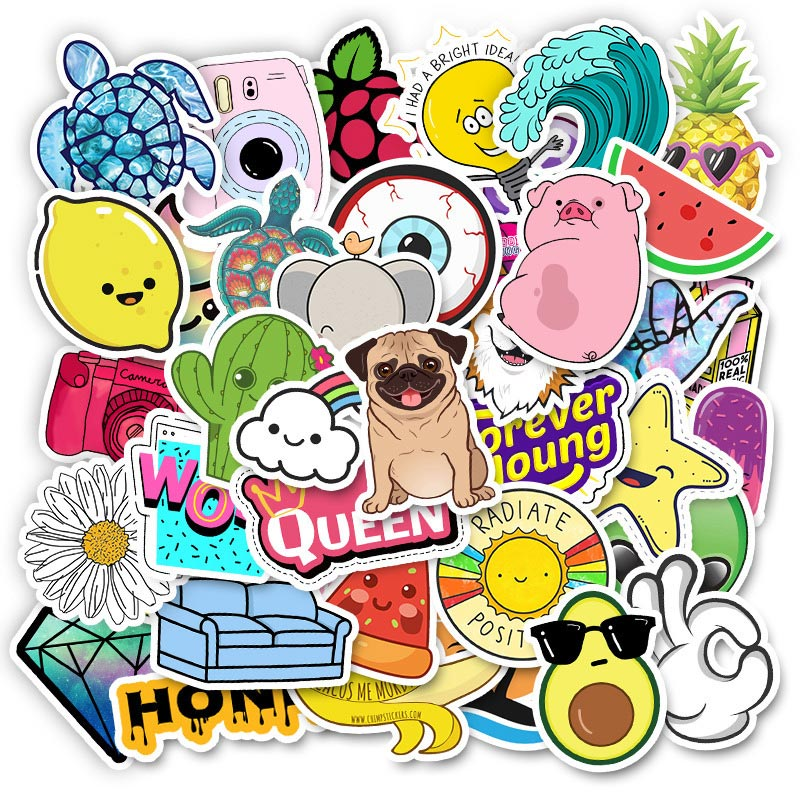 Image 3 - 20 Style Vsco Stickers Things 50PCS Pack Cool Pink Girl Stickers For On The Laptop Fridge Phone Skateboard Suitcase Sticker-in Stickers from Toys & Hobbies