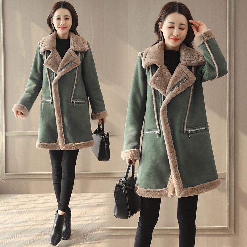 Новинка 2020, зимнее пальто yuansuo средней и длинной корейской версии, оленьей шкуры, кашемира, овечьей шерсти, утепленная куртка с хлопковой подкладкой|Парки| | АлиЭкспресс