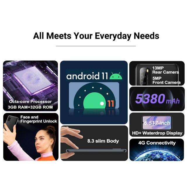 Blackview A70 3GB+32GB 5380mAh Android 11.0 Octa Core Smartphone 6.51'' HD+ 13MP Rear Camera Face ID Fingerprint 4G Mobile Phone 2