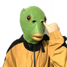 Grün Fishman maske monster kopf abdeckung Cartoon Halloween Horror Cosplay nette lustige latex seltsame fisch kopf abdeckung cosplay
