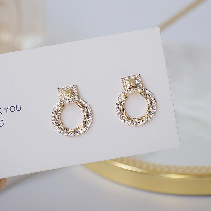 14k or réel exquis cercle CZ femmes boucles d'oreilles haute qualité charme Mircro incrusté AAA zircone boucle d'oreille cadeau d'anniversaire 5
