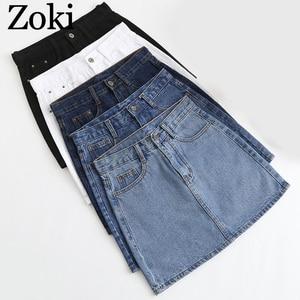 Image 1 - Zoki Sexy Women Denim Mini Skirt Fashion Summer High Waist Korean Black Skirt Blue Package Hip Jeans Harajuku Plus Size Cotton