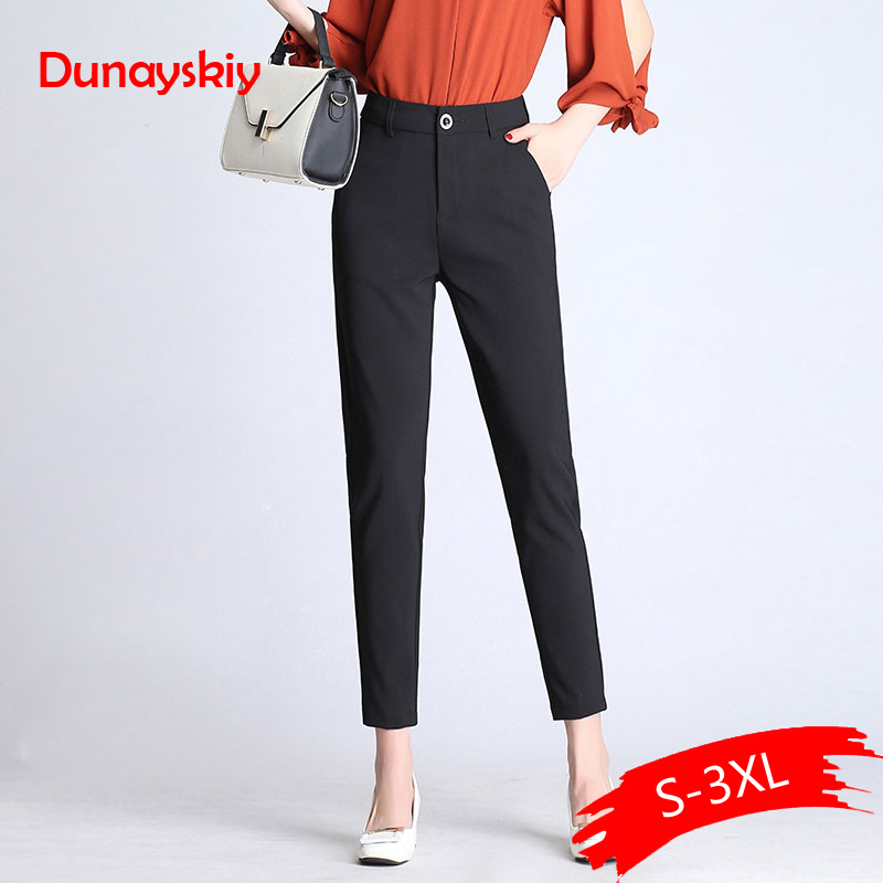 Dunayskiy Women Spring Solid High Waist Long Pants Formal OL Elegant Harem Pants For Ladies In Workplace Business Suits Trousers