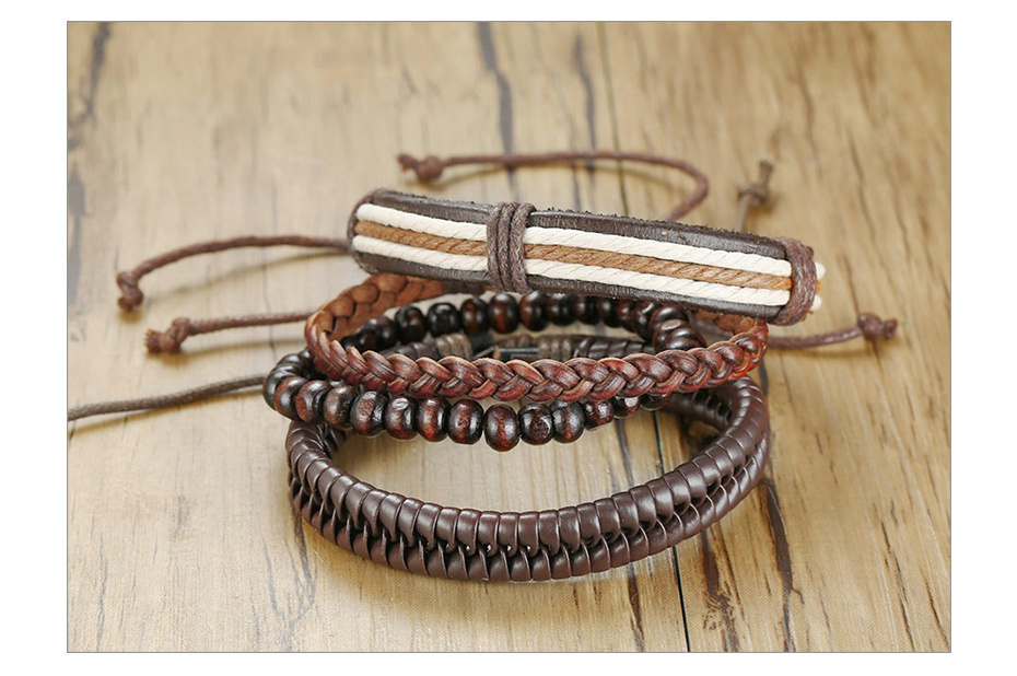 Hdbefdc47b3bd4b6c884a156708e75ccad - Vnox 4Pcs/ Set Braided Wrap Leather Bracelets for Men Vintage Life Tree Rudder Charm Wood Beads Ethnic Tribal Wristbands