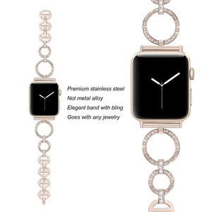 Женский Алмазный ремешок для Apple Watch 40 мм 38 мм 42 мм 44 мм металлический браслет из нержавеющей стали ремешок для iWatch серии 5/4/3/2/1