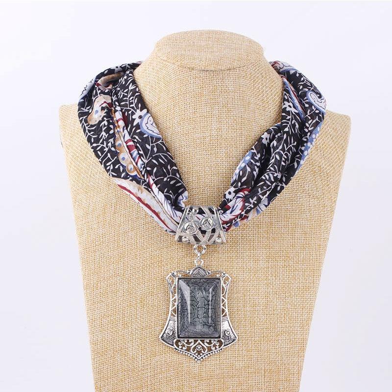 2019 NEW Fahion Jewelry Scarf Statement Necklace Chiffon Pendant Scarf Women Boho Neckerchief Foulard Femme Accessories