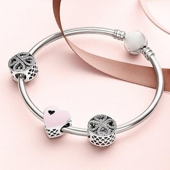 2019 NEW 100% 925 Sterling Silver 1:1 SWEET LOVE HEART CHARM Petals of Love Four-leaf Clover Beaded Bracelet Bangle Gift Set