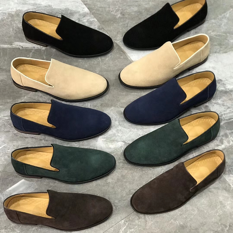 Suede Leather Men Loafers Dress Shoes Slip On Male Shoes Casual Shoes Man Party Wedding Footwear
