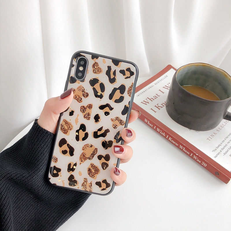 Gold Foil Bling Leopard spot Phone Case For iPhone X XS Max XR Soft TPU Cover For iPhone 7 8 6 6S Plus Glitter Back Cover Coque