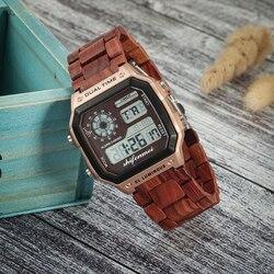 Shifenmei Wood Watch Men Brand Luxury Sports Men's Watches LED Digital Watch G Waterproof Shock Male Clock Relogio Masculino