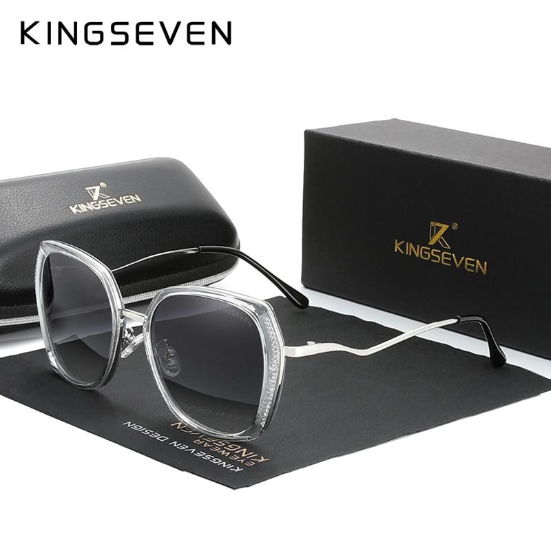 Echtes KINGSEVEN frauen Gläser Luxus Marke Design Sonnenbrille Gradienten Polarisierte Objektiv sonnenbrille Schmetterling Oculos Feminino