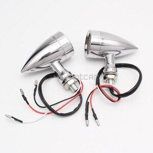 Image 2 - 1ペアレトロ弾丸黒グリッドオートバイシグナルledブレーキライト金属シェルウインカーフラッシャー用ヤマハ